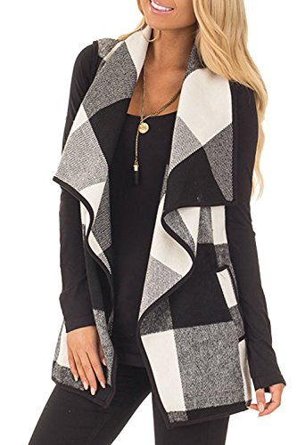 Wool Plaid Leggings (SENSERISE Womens Lapel Open Front Sleeveless Plaid Vest Cardigan with Pockets(Black/White,2XL))