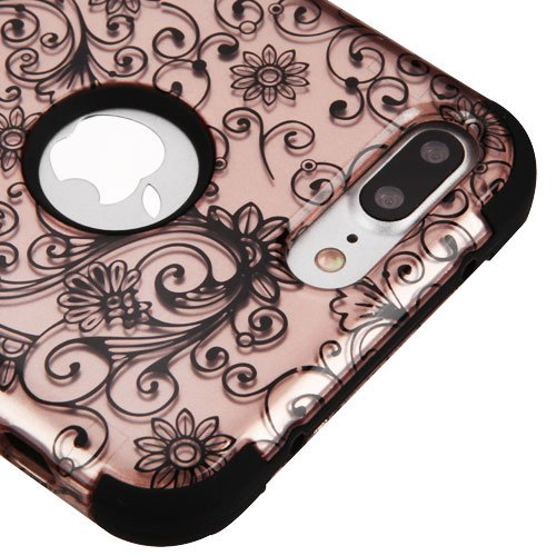 for iPhone 7 Plus Case, Kaleidio [TUFF] Rugged Shockproof Hybrid 3-Piece Dual Layer Protective Heavy Duty Armor Cover [Includes a Overbrawn Prying Tool] [Rose Gold Clover Flowers]