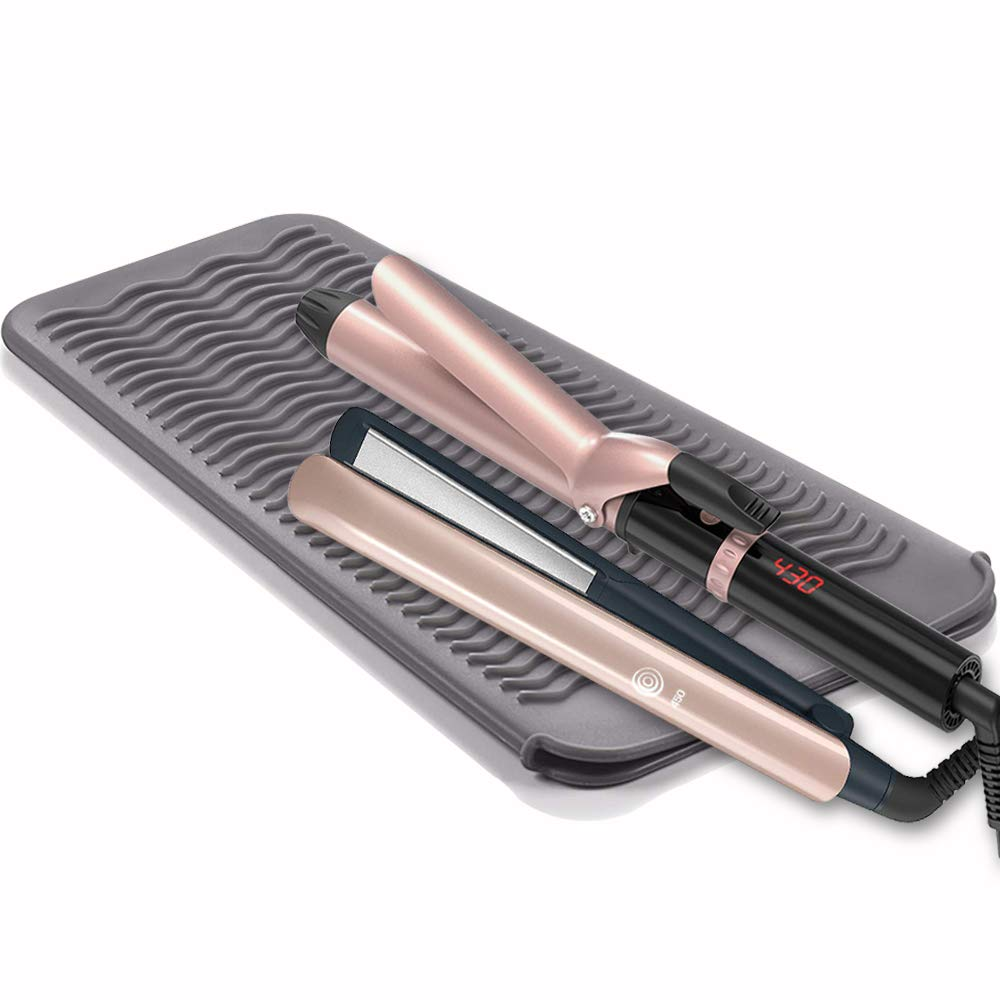 S&R Hair Iron Mat & Pouch, Professional Heat Resistant Mat for Flat Iron and Curling Iron, Portable Silicone Travel Hair Straightener Mat and Cover for Hair Styling Tools