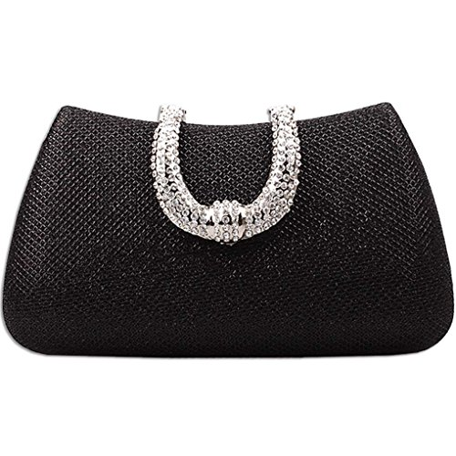 Black Ladies Wedding Elegant Bag Womens Diamond Handbag Satin Gold Clutch KAXIDY Evening Rhinestone Bridal Prom Zgqxp64