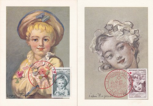 France Scott B365-B366 20F+10F Rosalie Fragonard and 25F+10F L'Enfant in Pierrot Red Cross Semi-postals 1962 Angouleme La Croix-Rouge Et La Poste Premier Jour Illustrated Cancel. First day on two Ma