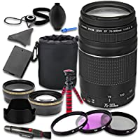 Canon EOS Rebel T5 T6 DSLR Camera Accessories Kit with Canon EF 75-300mm f/4-5.6 III Lens + 2.2x Telephoto Lens + 0.43x Wideangle Lens + Lens Bag + Extra Battery + 3 PC Filter Kit + Tripod
