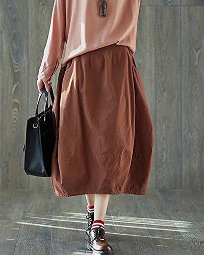 Caf Longue Rtro Jupe Taille Rouge Midi Haute Femme Vintage Chic Jupe Mi Plisse Shaoyao 7wZHC