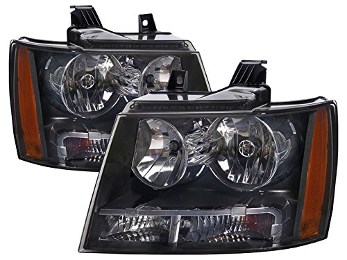 (PERDE Black Housing Halogen Headlights Compatible with Chevrolet Avalanche Suburban 1500 2500 Tahoe Includes Left Driver and Right Passenger Side Headlamps)