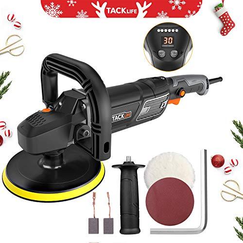 "【Christmas Selection】 Tacklife Polisher, 7""/9"" 12.5Amp 1500W Variable Speed Buffer/Waxer, Digital Screen & LED Indication, Detachable Handle, Sanding & Wool Disc, Ideal for Car Polishing - - Polisher Dewalt Sander"