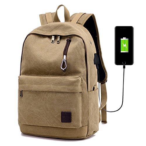 Travel Outdoor Computer Backpack Laptop bag middle (khaki) - 4