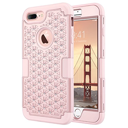ULAK iPhone 7 Plus Case, Bling Hybrid Heavy Duty Protection Shockproof 3 in 1 Silicone Rubber Hard PC Front and Back Protective Case for iPhone 7 Plus 5.5 inch, Rose Gold Bling