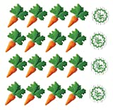 "24pk Carrot 2"" Edible Sugar Decoration Toppers for Cakes Cupcakes Cake Pops w. Edible Sparkle Flakes & Greenery Decorating Stickers"