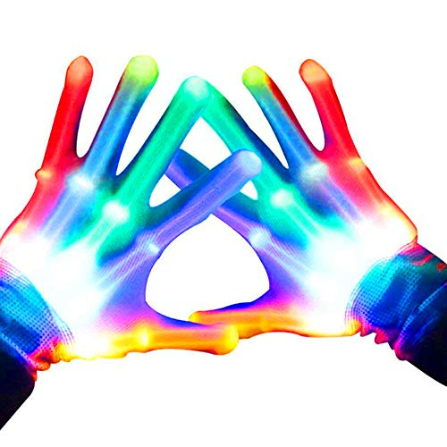 WETONG LED Gloves for Party LightShow Halloween Multicolor,Dancing , Rave, Birthday, EDM, Disco