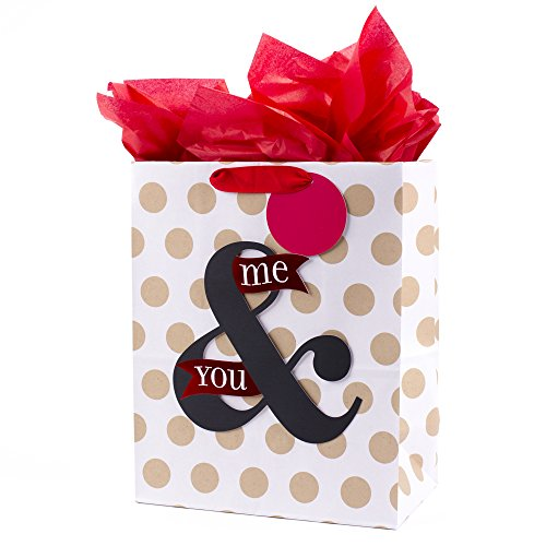 Hallmark Large Anniversary Gift Bag with Tissue Paper (You & Me On Dots)]()
