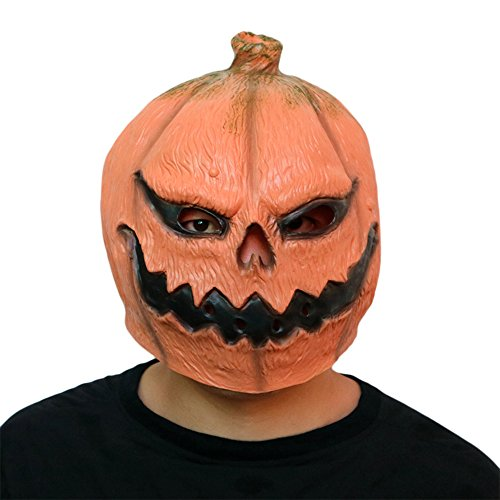 Rucan Halloween Novelty Scary Costume Party Props Latex Pumpkin Head Mask]()