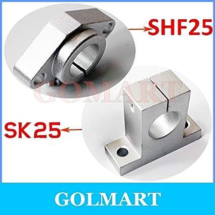 Ochoos 10pcs SK25 SH25A 25mm Aluminum Linear Motion Bearing Slide Rail Shaft Guide Support Socket Stand Diameter: SK25