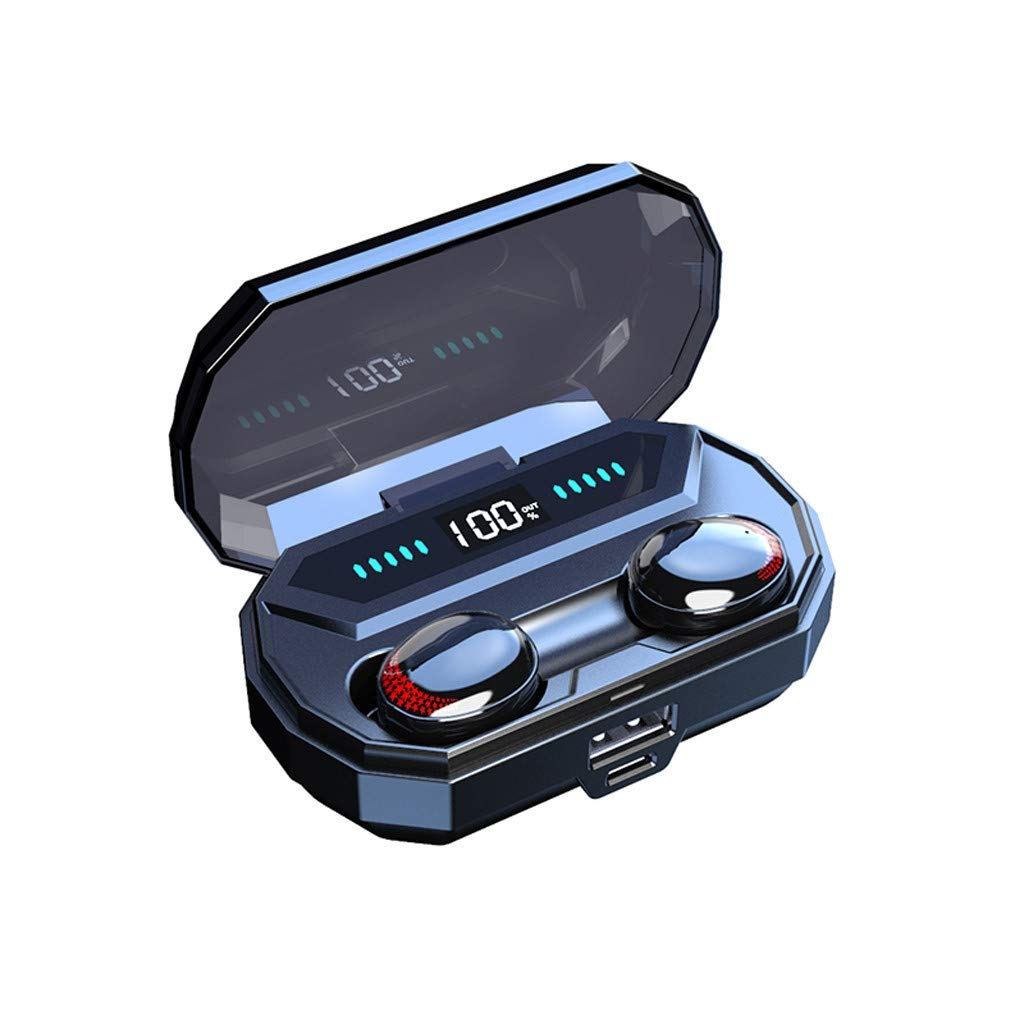 Mini in-Ear Wireless Headphones,True Bluetooth 5.0 IPX7 Waterproof Stereo Smart Touch Earbuds w/LED Digital Display Built-in Mic Ultralight Noise Cancelling Headset Auto Pairing Earphones