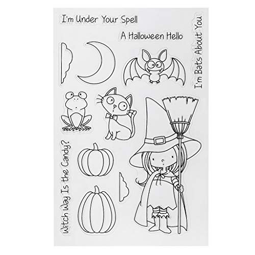 UJuly Silicone Stamps Girl Cat Frog Bat Moon Pumpkin Silicone Stamps Halloween for Card Making