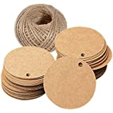 G2PLUS Kraft Paper Gift Tag with 100 Feet Jute Twine, Round Shaped 5.5 cm Blank Hang Tags for Craft Projects, Xmas Gifts (Brown)