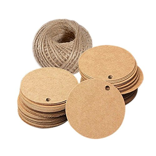 Valentine Tag,Kraft Paper Gift Tag with 100 Feet Jute Twine Round Shaped 5.5 CM Blank Hang Tags for Craft Projects, Xmas Gifts