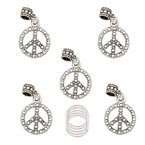 Q&Q Fashion Silver Peace Pack 5 Rasta Wrap Mambo Beads Hoop Dreadlock Dreads Loc Braid Updo Hair Pin Dress Clip with 5 Hoops ()