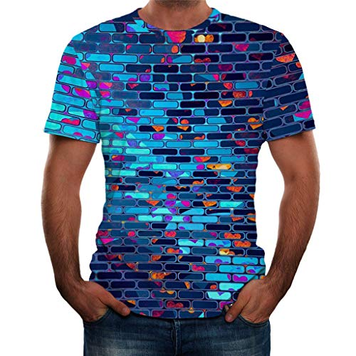 NIUQI Mens 3D Printed Fashion Short Sleeves T Shirt Blouse Tee -