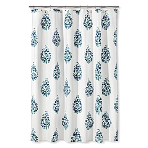 Threshold Blue Green Paisley Shower Curtain For Sale Cheap