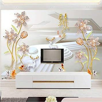 3D Murales Papel Pintado Pared Calcomanías Decoraciones Flor De La Perla De Piedras Preciosas Modern Art Room Background Art Children'S Kitchen (W)400x(H)280cm