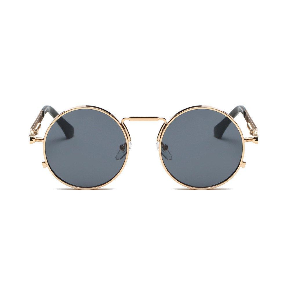 KCPer Women Men Fashion Vintage Unisex Shades Sunglasses Integrated UV Glasses Round Retro Eyewear (B)