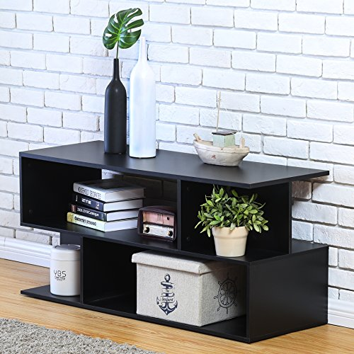 Homury Wood Coffee Table Media TV Stand Storage Console Cabinet Bookcase Display Stand Cabinet Storage Closet Organizer, (Media Storage End Table)