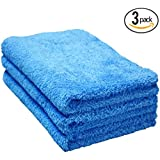 THE RAG COMPANY (3-Pack) 16 in. x 24 in. Eagle Edgeless Blue Professional Korean 70/30 Super Plush 480gsm Microfiber Detailing Towels