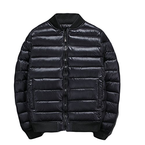 GRMO Men's Solid Zip-up Quilted Padding Down Jackets Bomber Puffer Coats Black