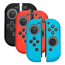 Insten [3 Pairs] Nintendo Switch Joy-Con [L/R] Cover [Anti-Slip/Ultra Thin] Protective Skin Cover Case For Nintendo Switch Joy Con Left/Right Controller [2017 New Release], Multi-color