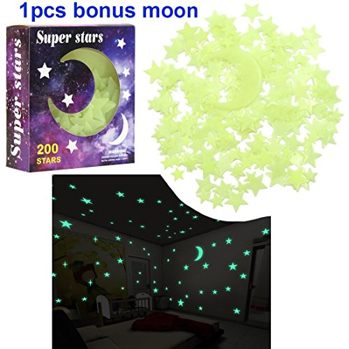 Glow in the Dark Star Stickers,3D Glowing Ultra Bright Stars
