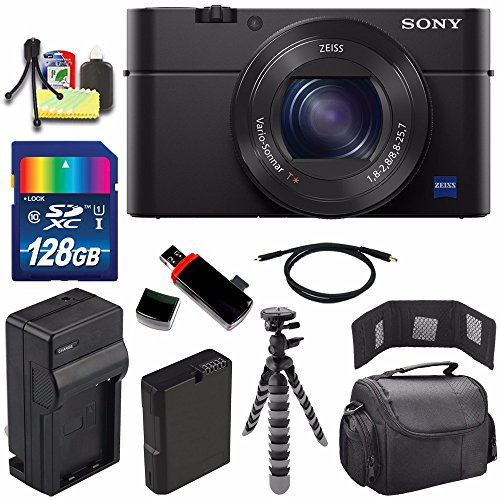 Sony Cyber-shot DSC-RX100M4 IV Digital Camera + Extra battery + Charger + 128GB Bundle 7 - International Version (No Warranty)