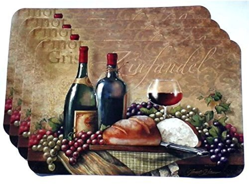 4 grape wine thin vinyl placemats zinfandel