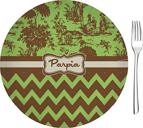 Green & Brown Toile & Chevron Glass Appetizer/Dessert Plate 8