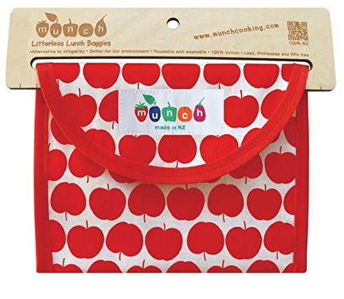 Reusable Sandwich or Snack Bag. BPA and Phthalate Free. Comes with Free E-book with 10 Lunch Box Ideas to Make Picnics an Lunches Fun, Easy and Sustainable. Easy Clean. Dishwasher Safe. (Red Apples)