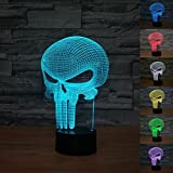 [New Item]Lmeison Punisher 3D Optical Illusion Night Light Multi 7 LED Colors Change Desk Lamp with USB Cable Smart Touch Button Control,Best Gift for Kids,friends,birthdays,holidays,ect (Punisher)