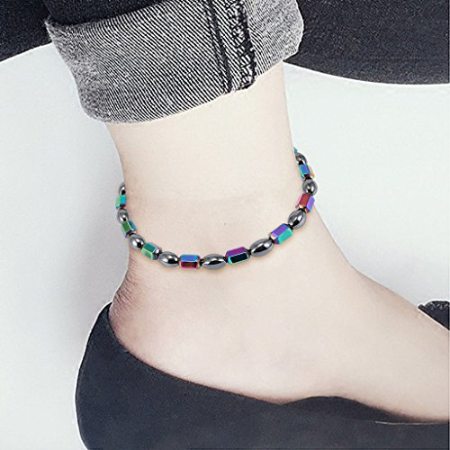 - Magnetic Anklet, Hematite Stone Ankle Bracelet, Health Care Weight Loss Jewelry for Men Women (01#)