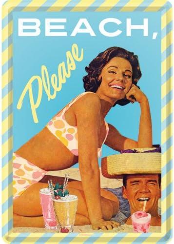 Please Blechpostkarte 10x14 cm Targhe 14x0x10 Metallo Nostalgic-Art 10306 Multicolore Say it 50s Beach