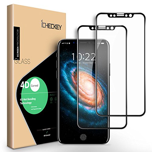 iPhone X Screen Protector – [2 PACK] ICHECKEY 4D Curved Soft Edge Full Coverage Tempered Glass Screen Cover Film for Apple iPhone X / iPhone 10, 5.8 Inch – Black