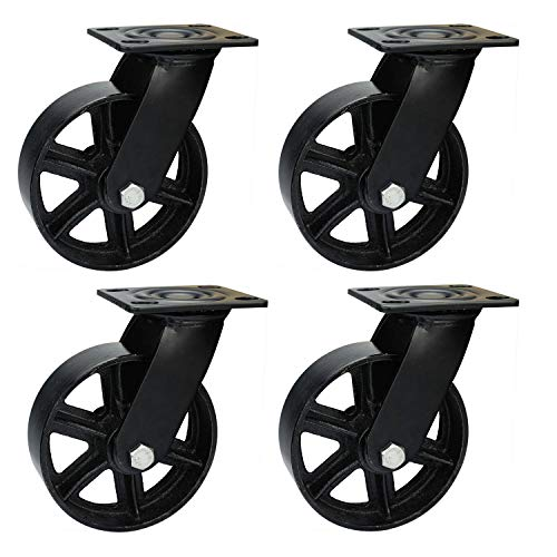 6 Inch Caster Wheels- Swivel Casters Heavy Duty Industrial 6 Inch Casters - Vintage Casters Set of 4, Metal Casters Industrial Cart Wheels ()