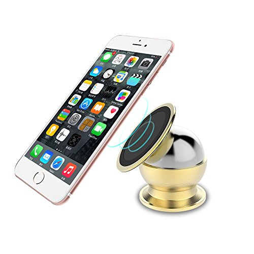Magnetic Car Mount, RAXFLY Universal Car Vehicle Bracket Dashboard Cell Phone Holder for All Smart Phones with 360 Degree Rotation, Support Cars, Motorcycles, Trucks, RVs - Gold