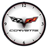 Collectable Sign and Clock GM1103307 14″ Corvette C6 Logo Lighted Clock