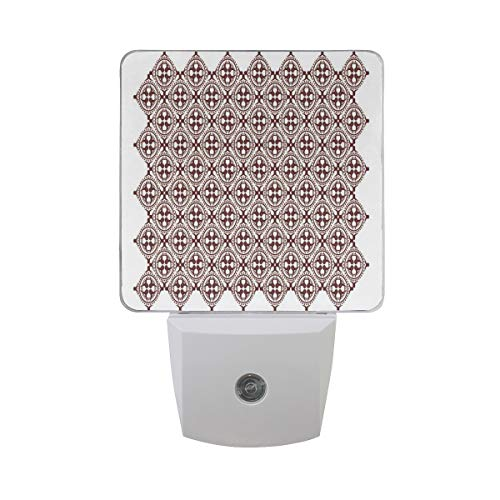Colorful Plug in Night,Javanese Ethnic Batik Ornament Old Fashioned Cultural Vintage Tile,Auto Sensor LED Dusk to Dawn Night Light Plug in Indoor for Childs Adults ()