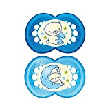 MAM Night 6+ Months Soother, Blue 2 per pack - Pack of 6