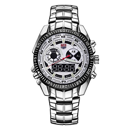 Round Dial Hardlex Watch Window Luminous & Alarm & Week Display Function Quartz + Digital Double Movement Men Watch With Alloy Band (Color : White) by Dig dog bone (Image #1)