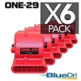 BlueDri ONE-29 Air mover Carpet dryer 3-Speed 2.9 AMPS with GFCI 4-unit Daisy Chain Capability RED 6-PACK