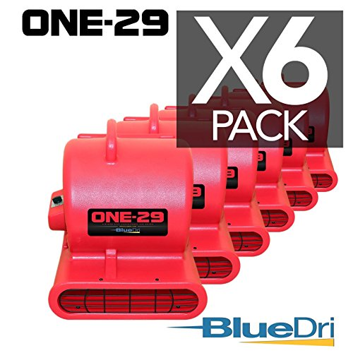 BlueDri ONE-29 Air mover Carpet dryer 3-Speed 2.9 AMPS with GFCI 4-unit Daisy Chain Capability RED 6-PACK by BlueDri