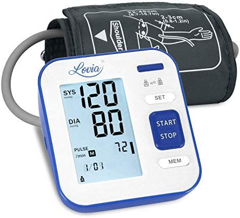 Blood Pressure Monitor Upper Arm, LOVIA Accurate Automatic Digital BP Machine for Home Use Pulse Rate Monitoring Meter with Cuff 22-40cm, 2 120 Sets Memory, LCD Backlight