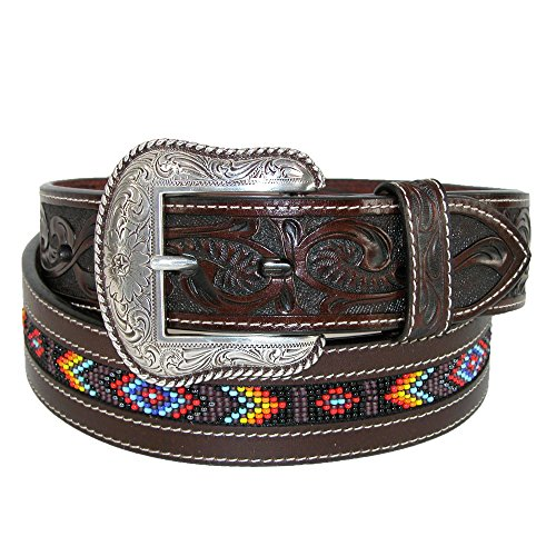Roper Men's Hand-Tooled Beaded Silver Buckle Belt Brown 38