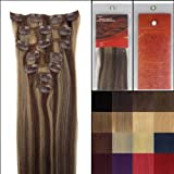 L-email 20inch 7pcs Straight Remy Clip in Real Human Hair Extensions #4-27 Brown/ Golden Blonde
