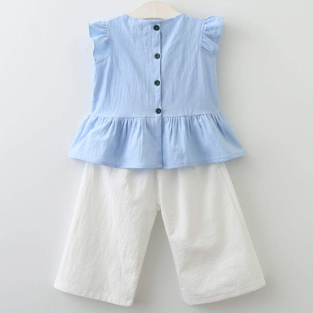 Amazingdeal Girls Ruffled Sleeveless Tops Wide Leg Pants Clothing Set Kids Outfits Suit